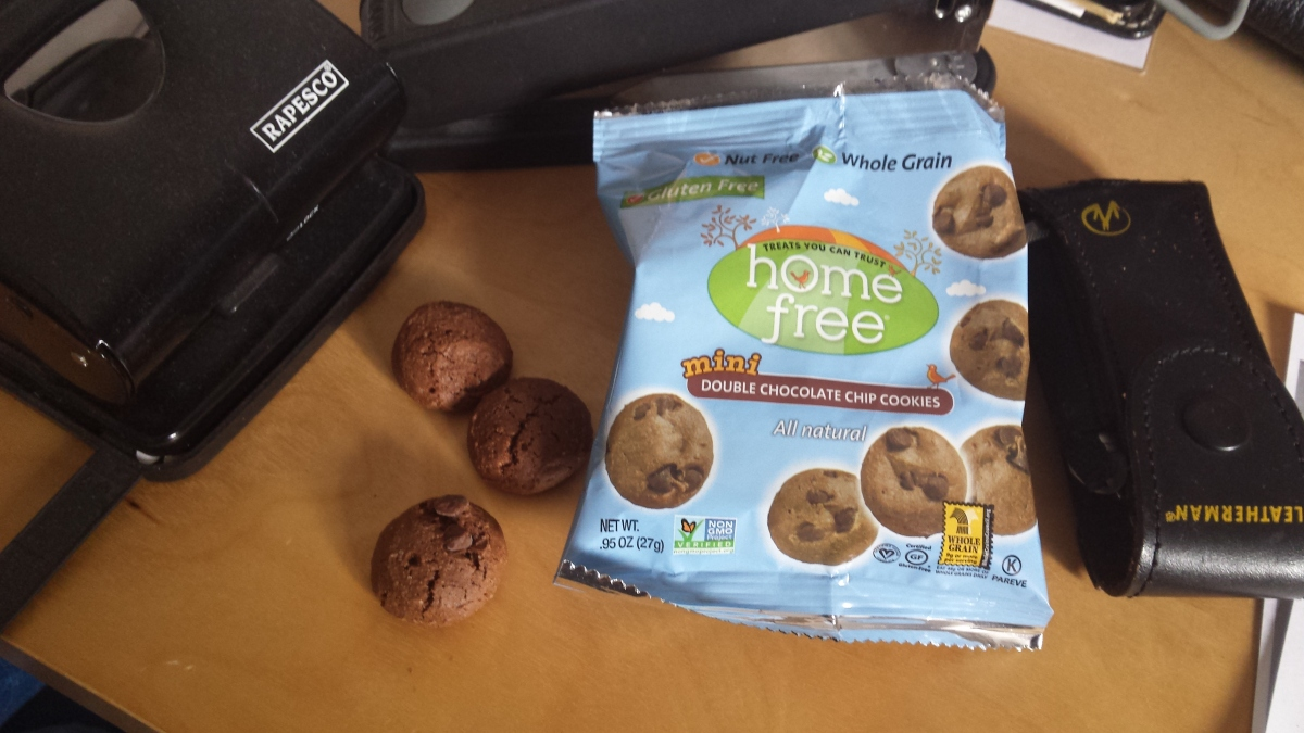 "Home Free ""Mini Double Chocolate Chip Cookies""."