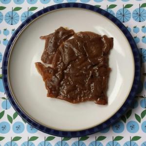 Vege soy jerky on a plate.