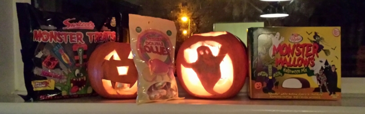 Twp Jack O Lanterns with bags of sweets