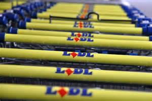 a rank of LIdl trolleys.